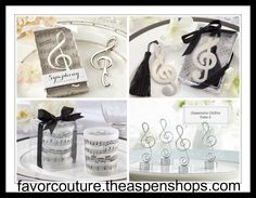 Are the bride and groom music lovers? Then these note-covered music theme wedding favors are just the thing!