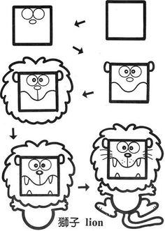 简笔画,简笔画,简笔画,How to Draw , Study Resources for Art Students , CAPI ::: Create Art Portfolio Ideas at milliande.com, Art School Portfolio Work ,Whimsical, Cute, Kawaii,how to draw cartoon animals ,lion