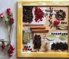 collage of spices Little Stitch, Cool Mirrors, Drying Herbs, Make And Sell, Interior Inspiration, Interior And Exterior, Collage, Rustic, Crafty