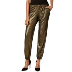 NY Collection NEW Metallic Gold Black Womens Size Large L Jogger Pants