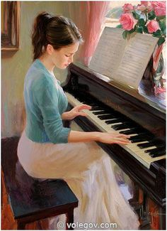 AT THE PIANO, painting, Vladimir Volegov, I must have a print of this!