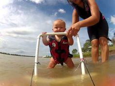 Baby Ryders On His Way To Waterski! 7.5 Month Old Baby On Learner Ski! ORIGINAL