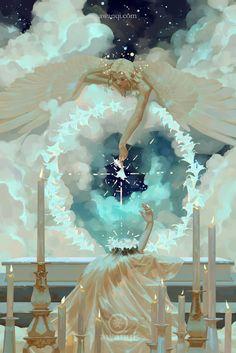 illustration by awanqi Witcher Wallpaper, Illustration Manga, Digital Illustration, Angel Art, Pretty Art, Art Plastique, Aesthetic Art, Oeuvre D'art, Art Inspo