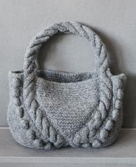 Felted Bag With Cables and Bobble Free knitting Pattern