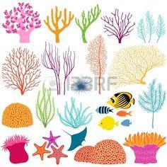 Jeu de couleurs des éléments de conception sous-marine Banque d'images - 20615520