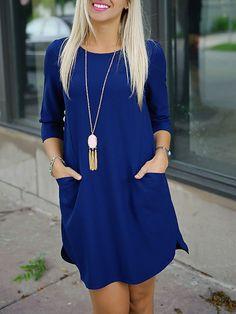 Blue+Twin+Pocket+Half+Sleeve+Dress+12.09