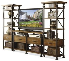 Online Shop American country to do the old vintage wrought iron wrought iron wood TV cabinet drawer cabinet shelf bookcase shelving entrance Iron Furniture, Rustic Furniture, Riverside Furniture, Cool Tv Stands, Diy Holz, Tv Cabinets, How To Antique Wood, Apartment Design, Entertainment Center