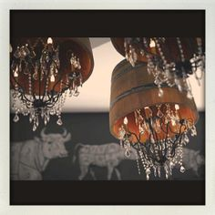 Wine barrel chandeliers