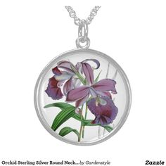 Orchid Sterling Silver Round Necklace for bedazzling an Orchid tee.