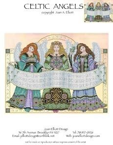 Joan Elliott Celtic Angels - Cross Stitch Pattern. May the road rise up to meet you, may the wind be always at your back, may the sun shine warm upon your face.
