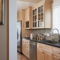 Good Maple Cabinets   Backsplash Idea, Grey Countertop And Taupe Backsplash