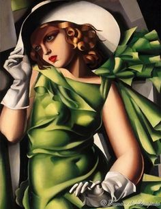 Young Lady with Gloves by Tamara de Lempicka. (1930).