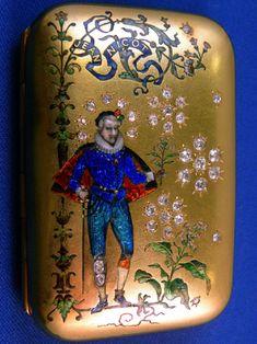 "Gold an enamel cigarette case with diamond ""Jean Nicot"" Russian"