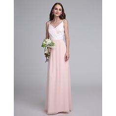 LAN+TING+BRIDE+Floor-length+Spaghetti+Straps+Bridesmaid+Dress+-+Color+Block+Sleeveless+Chiffon+–+USD+$+89.99
