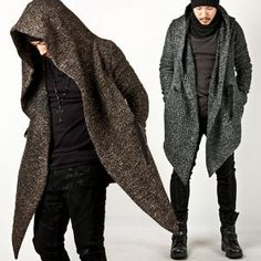 Outerwear :: Coats :: Avant-garde Unbeatable Style Diabolic Hood Cape Coat Vol.2 (Charcoal/Beige) - 32 - New and Stylish - Fast Mens Fashion - Mens Clothing - Product