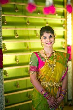 South Indian bride. Temple jewelry. Jhumkis.Green silk kanchipuram sari.Braid with fresh flowers. Tamil bride. Telugu bride. Kannada bride. Hindu bride. Malayalee bride.Kerala bride.