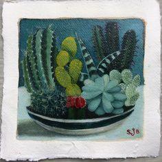 Oil on Khadi paper Sarah J, Art School, Painters, Screen Printing, Cactus, Succulents, Planter Pots, Objects