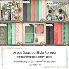 Artsy Days scrapbooking collection!  Each beautiful pack is sold separately for $1 until April 15. Great for your digital scrapbooking pages.