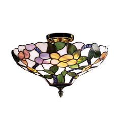 Shop Dale Tiffany  7966/3LTF 3 Light Peony Semi Flush Ceiling Light, Antique Brass at ATG Stores. Browse our semi flush ceiling lights, all with free shipping and best price guaranteed.