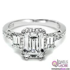 Emerald Cut Diamond Platinum Engagement Rings | Top Jewelry Brands, Designs & Online Jewellery Stores