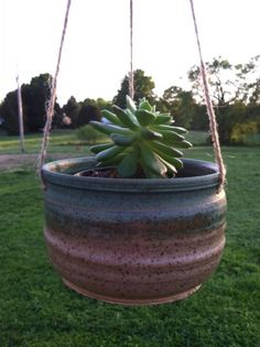 Hanging Pottery Planter, Succulent Planter, Hanging Flower Pot on Etsy, $14.00