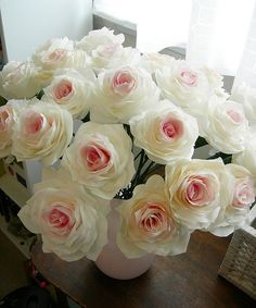 Coffee Filter Roses - Close up by pattysloniger, via Flickr