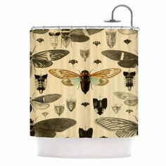 "Suzanne Carter ""Vintage Cicada"" Bugs Pattern Shower Curtain 