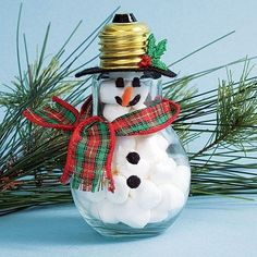 recycled lightbulb snowman craft, Cool Snowman Crafts for Christmas, http://hative.com/cool-snowman-crafts-for-christmas/,
