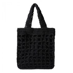 Electra Handbag, black with macrame details. Beach Tote Bags, Macrame, Reusable Tote Bags, Handbags, Crochet, Black, Totes, Black People, Chrochet