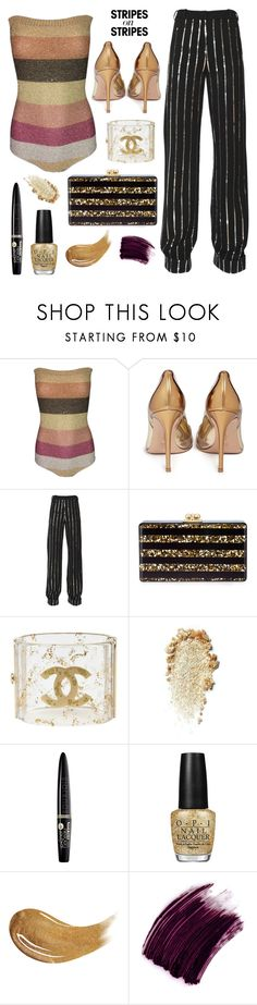 """""""It's all about the STRIPES #10"""" by juliedebbas ❤ liked on Polyvore featuring Chloé, Gianvito Rossi, Thierry Mugler, Edie Parker, Chanel, Bourjois, OPI, Too Faced Cosmetics, Yves Saint Laurent and stripesonstripes"""