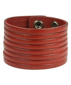 Love this Galaxy Belts Red Oil-Tanned Strand Leather Bracelet by Galaxy Belts on #zulily! #zulilyfinds