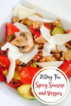 Spicy sausage and veggies is a quick and easy, healthy, 21 day fix dinner. Clean Dinner Recipes, Clean Eating Recipes, Lunch Recipes, Whole Food Recipes, Healthy Eating, Healthy Food, Eating Clean, Healthy Meals, 21 Day Fix Breakfast
