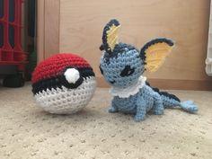 Crocheted amigurumi Vaporeon & Pokémon ball
