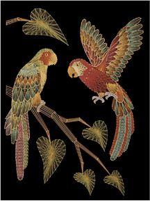 Parrots, string art by John Eichinger