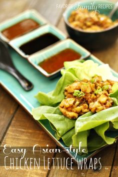 """These lettuce wraps are much like P.F. Changs or Yard House... but BETTER! To make it more """"kid friendly"""" just serve the filling over rice for the little ones! Lettuce Wrap Sauce, Asian Chicken Lettuce Wraps, Lettuce Wrap Recipes, Easy Chicken Lettuce Wraps, Lettuce Cups, Chicken Tacos, Kona Grill, Family Recipes, Family Meals"""