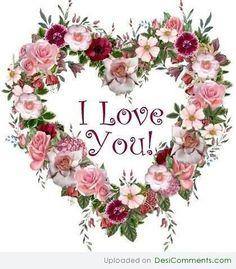 I love you flowers heart
