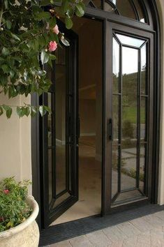 Traditional Front Door with exterior stone floors, Transom window, Natural light, French doors, Arched window Traditional Front Doors, Interior Barn Doors, Windows And Doors, Double Front Doors, French Doors Exterior, External Doors, Doors Interior, Entry Doors, Exterior Stone