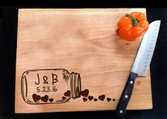 Personalized Cutting Board Rustic Mason Jar by MineByDesignStudio