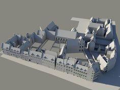 Utrecht digitale stadsmaquette, situatie ca. 1650 - Blok A41, Achter St.-Pieter naar het noorden, met op de voorgrond de Trans. - Gemeente Utrecht, afdeling Erfgoed - A.F.E. Kipp (inhoud).
