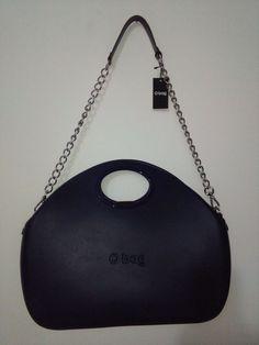 Borsa  a tracolla O Bag Moon becco d'oca color blu con tracolla a catena