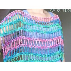 Crochet Pattern / Crochet Cape Pattern / Crochet Summer Shrug Pattern / Lace Capelet Pattern / Summer Capelet / Summer Wear / PDF Pattern by TheMailoDesign on Etsy Sample made from: Alize Diva Batik, Color – balls, work 2 strands together, 1 ball = 100 Crochet Shrug Pattern, Crochet Poncho, Crochet Stitches, Crochet Hooks, Crochet Patterns, Cape Pattern, Crochet Cover Up, Knit Crochet, Crochet Summer