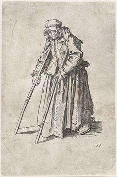 Jacques Callot   Bedelares met krukken, Jacques Callot, Anonymous, 1622 - 1670   Vrouw, gekleed in lompen, op de linkerzijde gezien, lopend met behulp van twee krukken. Deze prent is onderdeel van een serie van 25 (?) prenten met bedelaars en zwervers, zoals Callot die waarschijnlijk in Italië heeft gezien.