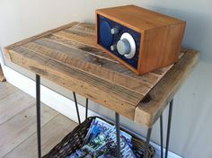 Industrial style wood & steel end table, side table or nightstand/bedside table, reclaimed barnwood with raw steel hairpin legs.