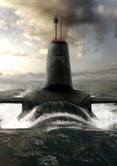 Astute Class Submarine artist impression sunset at sea