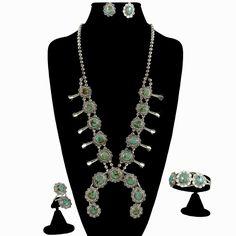 Navajo Turquoise Squash Blossom Jewelry Set