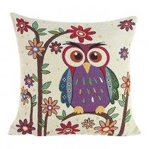 Cotton Linen Square Decorative Throw Pillow Case Cushion Cover Hight Owl