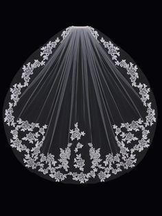 Romantic Lace Fingertip Length Wedding Veil enVogue V1597SF - Affordable Elegance Bridal -