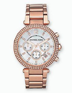 Ladies' Rose Gold Crystal Chronograph Watch | Lord and Taylor