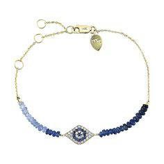 Yellow Gold Evil Eye Diamond and Sapphire Beaded Bracelet