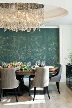 Lovely Dining Room, the circular celling and chandelier really make it special.